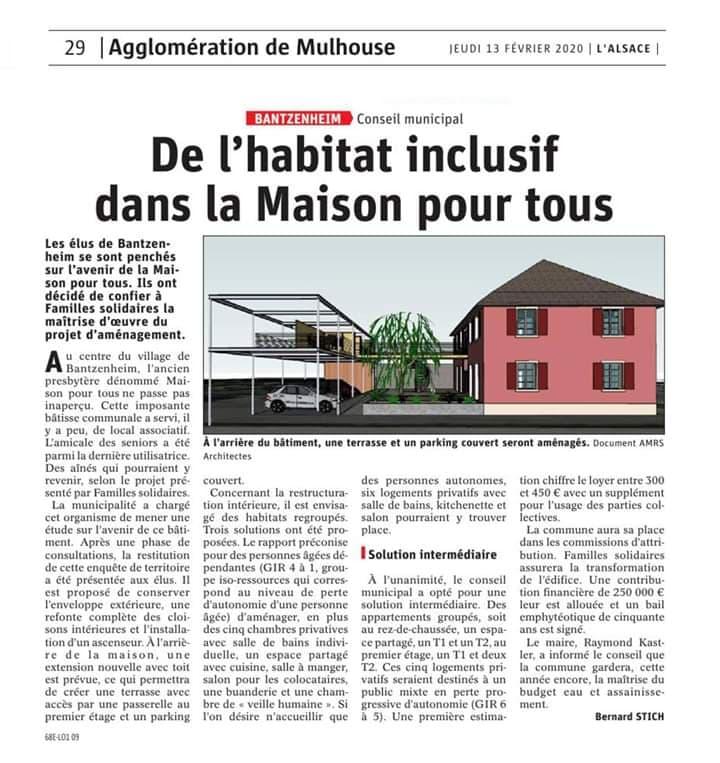 Article de l'Alsace sur projet Bantzenheim